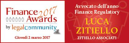 Award – Luca Zitiello avvocato dell'anno nel Finance Regulatory